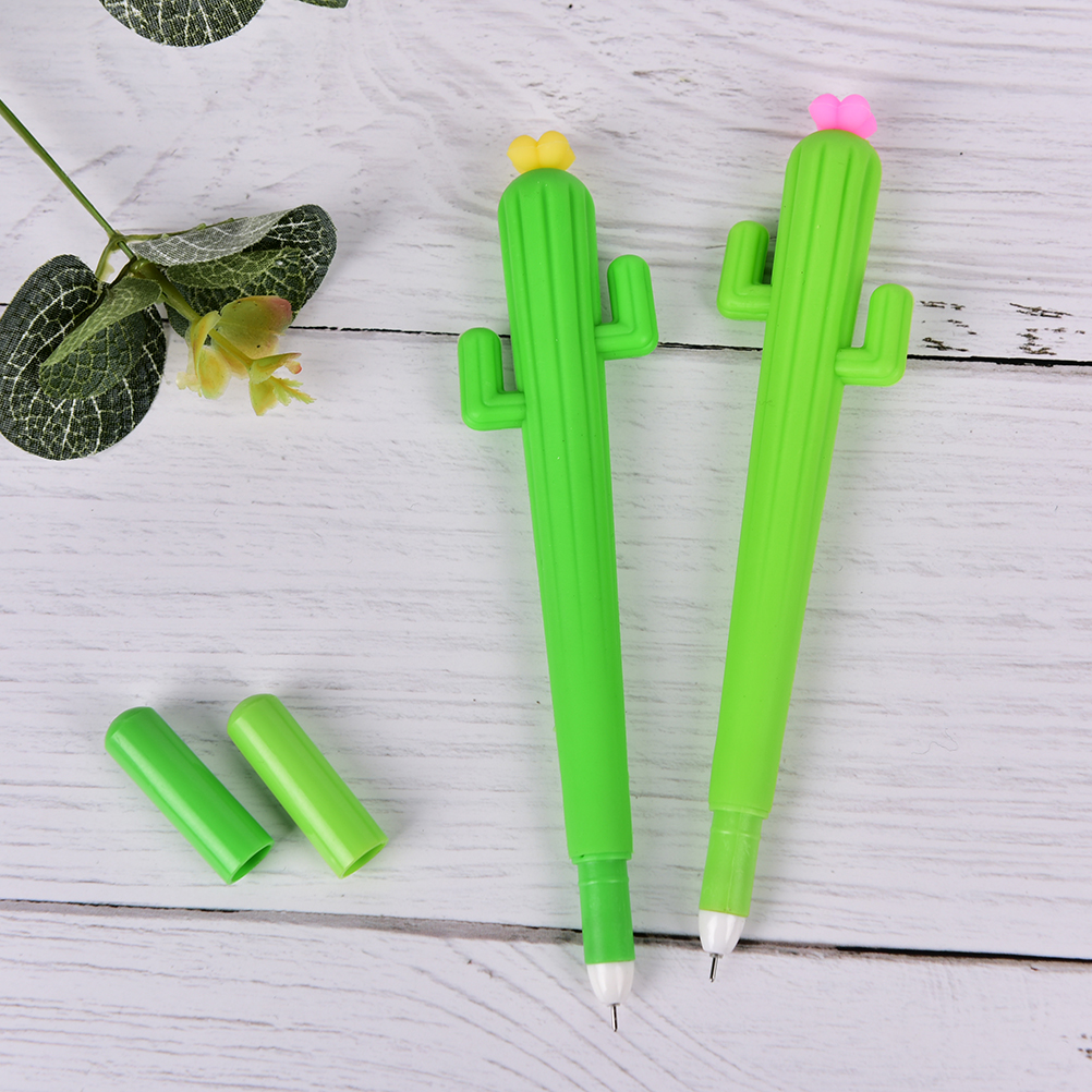 Office & School Supplies Peerless 1pcs Stationery School & Office Supply Green Cactus With Flower Gel Ink Pen Promotional Gift Length 15.5cm