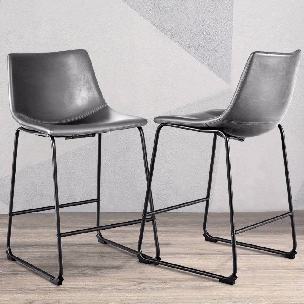 Giantex Set of 2 Vintage PU Leather Barstools Counter Height Stools w/ Metal Legs Gray Dining Room Furniture HW57433 цена