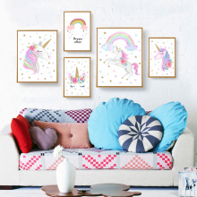 цены Nordic Wall Art Stijl Kids Poster Prints Cute AnimalUnicorn Eyelash Rainbow Canvas Painting Baby Living Room Decoration Home Dec