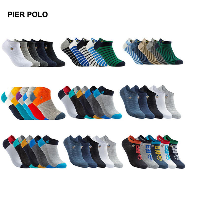 PIERPOLO   Socks   Men 5pairs/lot High Quality Brand   Socks   Summer Cotton   Socks   Casual Short Funny Ankle   Socks   Men Meia calcetines