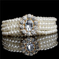 Al por mayor Nueva Moda hebilla Pequeña de oro que embute rhinestone perla de la correa elástica correa de las mujeres QW085-1 Envío Gratis