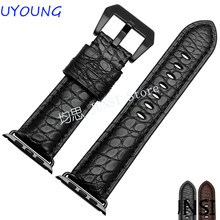 Quality Crocodile Leather Iwatch bands Fashion Fine Steel Buckle For Iwatch Band 38mm 42mm(China)