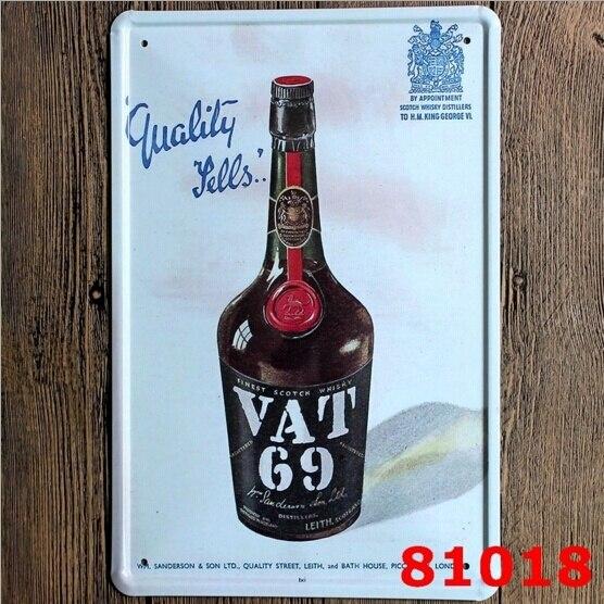 VAT 69 Scotch Blended Whisky Tin Sign Metal Wall Decor Pub Bar Tavern Display 20x30CM metal signs whisky whisky sign display 6 - title=