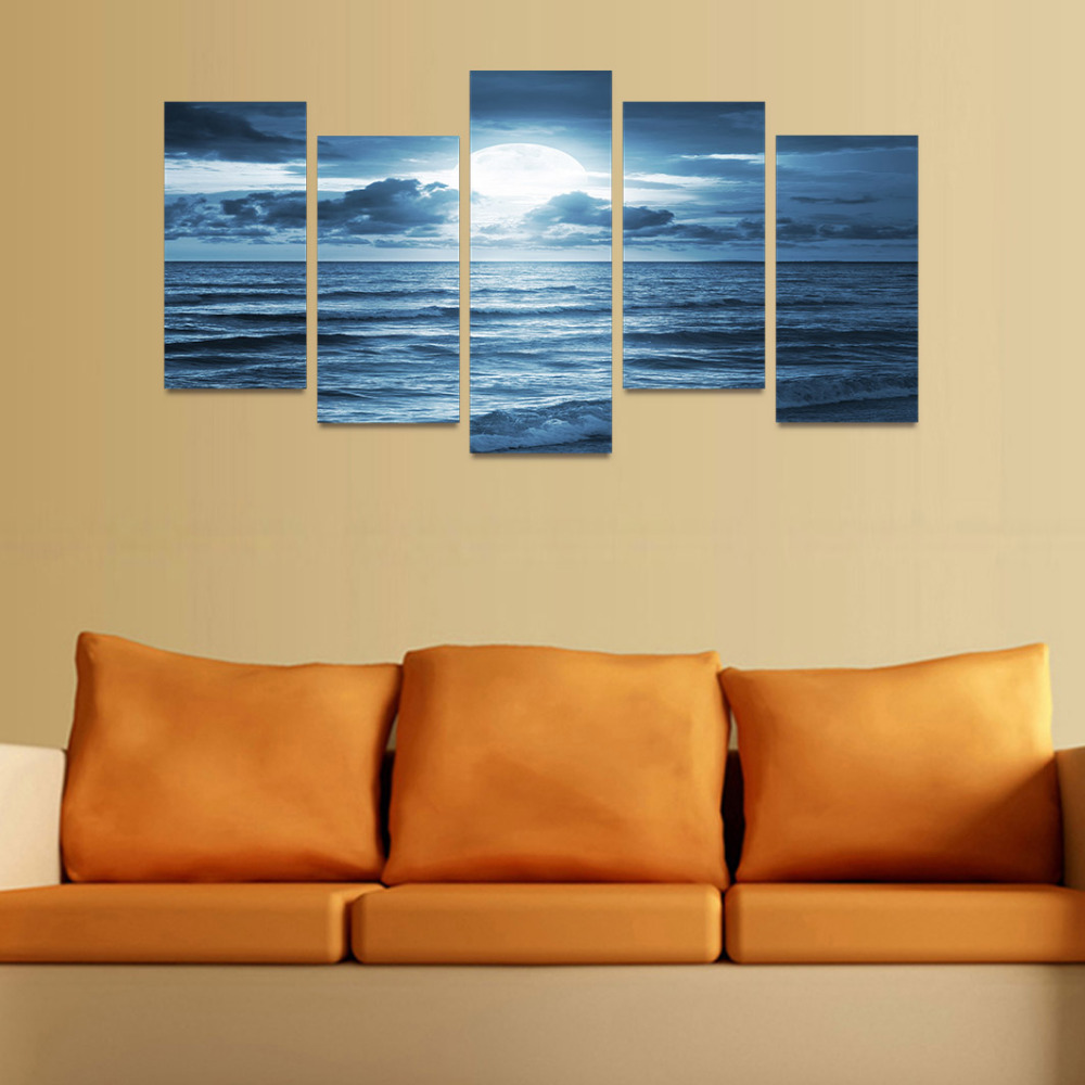 5 Panels Canvas Print Dark Blue Ocean And Moon In Clouds Painting ...