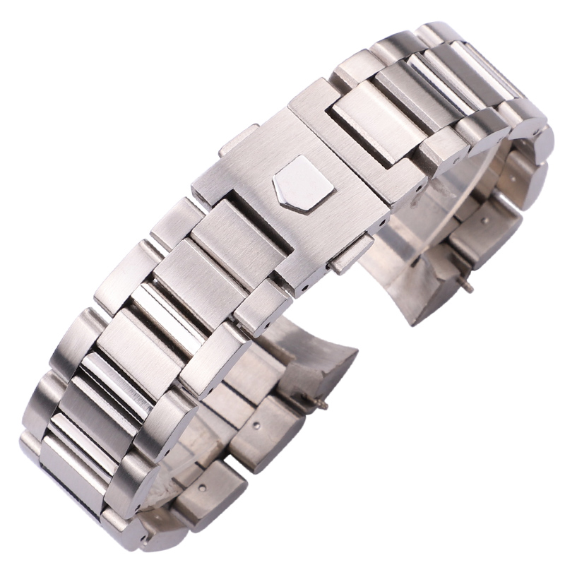 22mm Stainless Steel Watchband Bracelet Silver Black Mens Luxury Replacement Curved End Metal Watch Strap Accessories For black silicone rubber watchband curved end for special watches sport style watch strap 22mm for replacement bracelets promotion