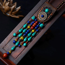 fashion ethnic top layer of leather jewelry Tibetan necklace,vintage stones necklace ,New women Indian pendants necklace