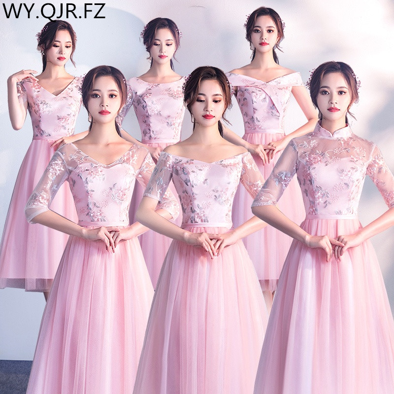 XBQS0801#Lace up Peach pink styles of medium short Bridesmaid   Dresses   wedding party   prom     dress   2019 wholesale womenclothing