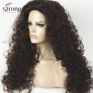 Image 3 - Perruque synthétique complète Afro bouclée longue brun foncé, perruques pour femmes