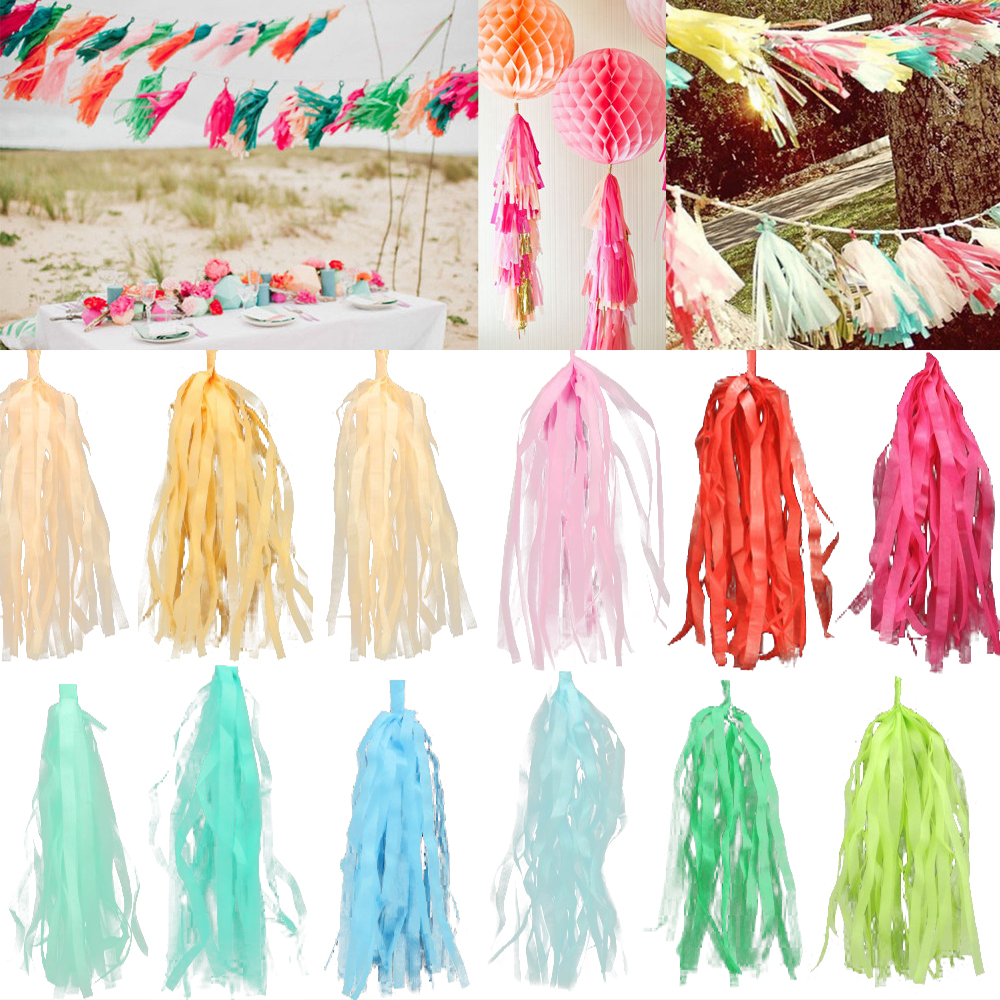 20Pcs/Bag 15 Inch (Height) 25*35cm Tissue Garlands Bunting Paper Tassels Garland Wedding Pom Party Decor tassles decoration