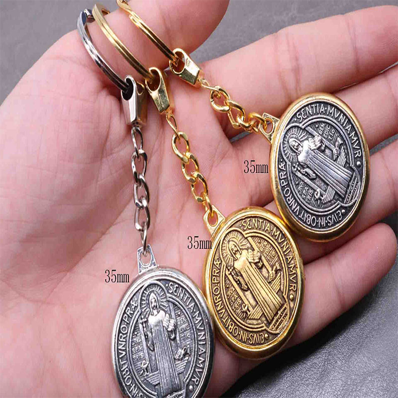 3 hot miracle St. Benedict Medal pendant KEYCHAIN RING HOLDER JEWELRY key chain Jesus religion