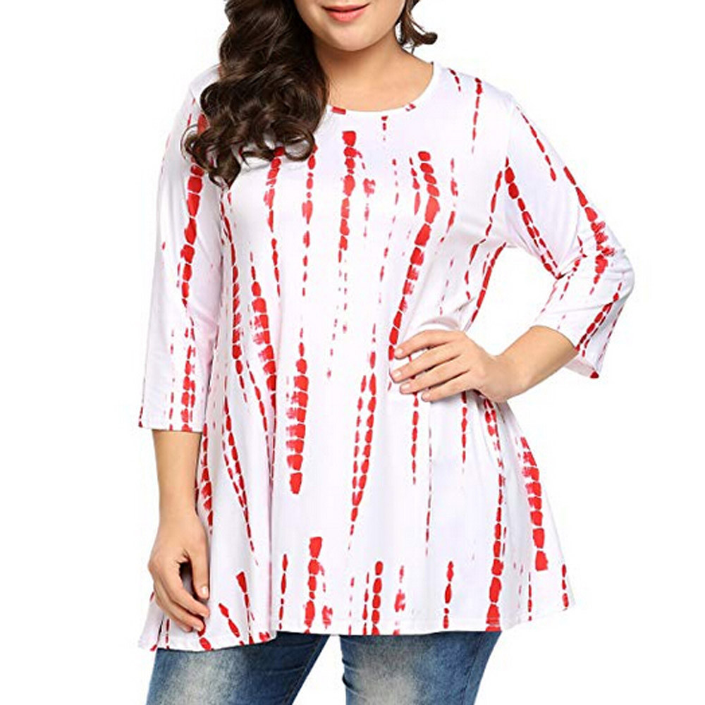 Fashion Women Plus Size Female   Shirt   3/4 Sleeve Printed Casual Tunic Top Ladies Loose   Blouse     Shirts   Pullover Outwear Clothes