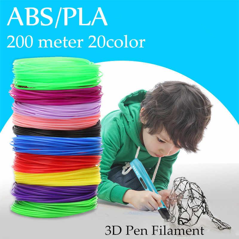 ABS/PLA 1.75 มม. ใช้สำหรับ 3D พิมพ์ปากกา 200 เมตร 20 สีหัวข้อพลาสติก 3 D เครื่องพิมพ์วัสดุสำหรับวาดเด็กของเล่น