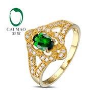 0.52ct если зеленый цаворит Pave Diamond Настоящее 18 К желтого золота Обручение кольцо