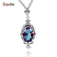 Szjinao slavic 925 Sterling Silver Jewelry Women Fire Rainbow Topaz chakra Necklace & Pendants borosa Vintage charms gift