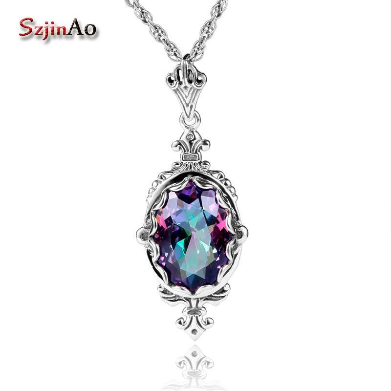 Szjinao slavic 925 Sterling-Silver-Jewelry Women Fire Rainbow Topaz chakra Necklace & Pendants borosa Vintage charms giftSzjinao slavic 925 Sterling-Silver-Jewelry Women Fire Rainbow Topaz chakra Necklace & Pendants borosa Vintage charms gift