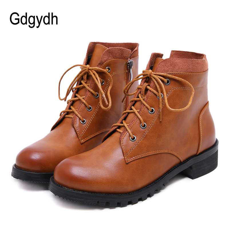 Gdgydh 2018 Spring Women Ankle Boots Square Heels Shoes Lace Up Round Toe Casual Shoes Platform Woman Autumn Boots Size 35-40
