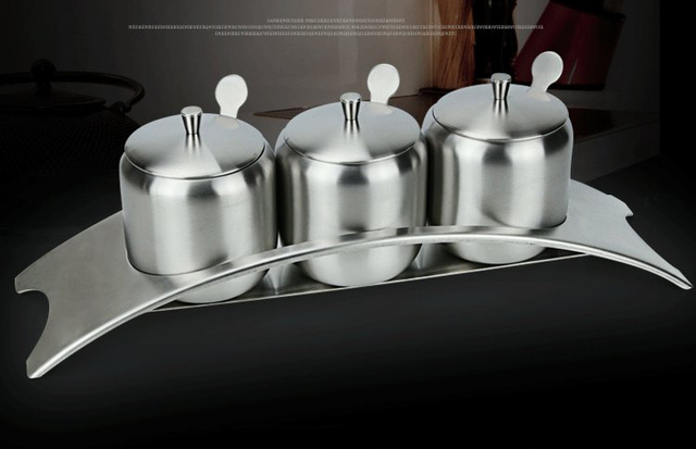 304 Stainless Steel Condiments Seasoning Server Pots Container Cream Sugar Canister Dip Bowls Set Of 3