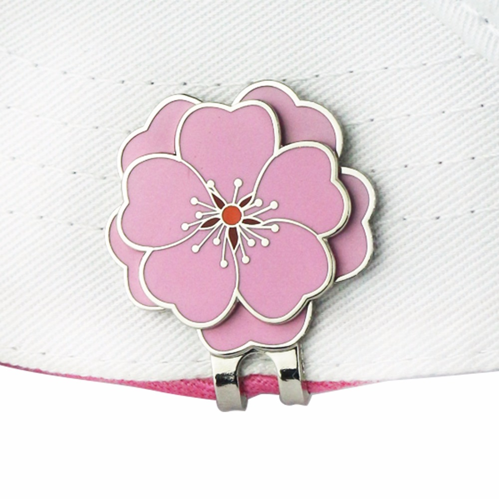 PINMEI Flower Golf Ball Mark Magnetic Hat Clip Set Cap Clip With Golf Marker Set Accessory Gift For Business Friend Lady Golfers
