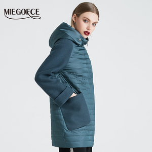 Image 3 - Miegofce 2020 nova coleção feminina primavera casaco elegante com capuz remendo bolsos dupla proteção contra vento parka