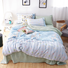 New AB Side Small Fresh And Beautiful Washed Bedding Cotton Products 4 Piece
