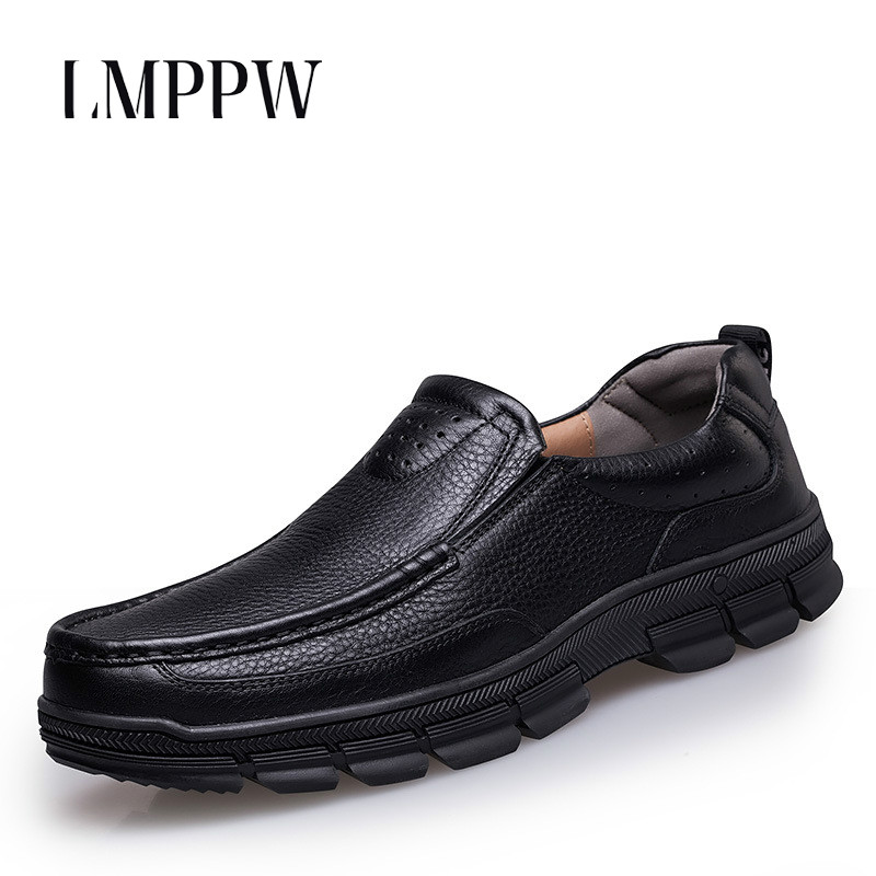 Big Size Men Business Dress Genuine Leather Shoes Leisure Men's Shoes Italian Style Man Classic Loafers Black Brown Brand Flats