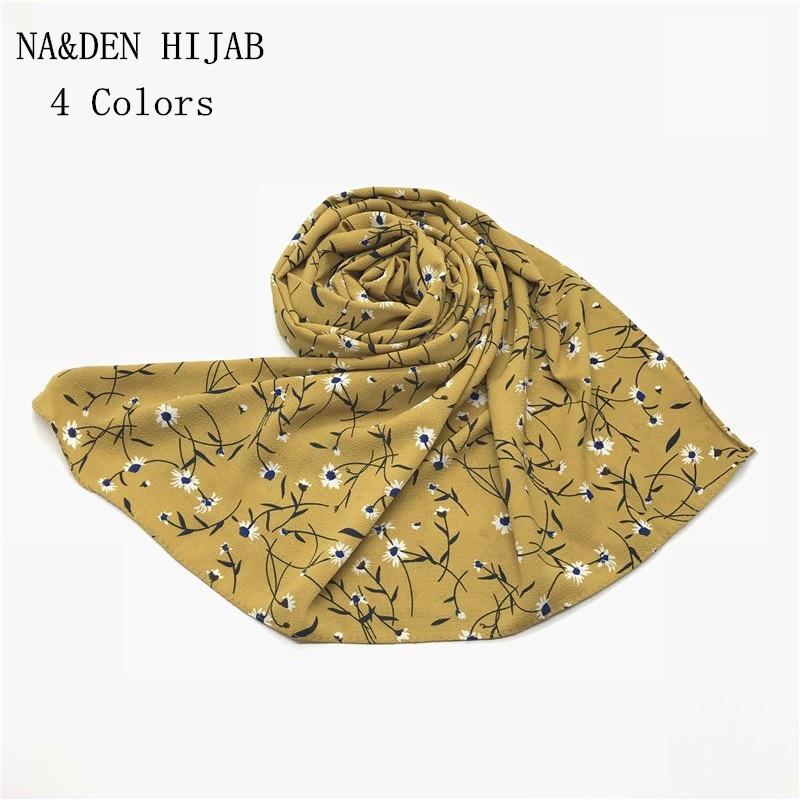 2018 Hot sale Chiffon Print Flowers shawls Muslim hijab woman scarf scarves pashmina bandana scarf Free