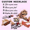 Personalized  Acrylic Necklace Handmade Initials Necklace Custom Acrylic  Necklace Name Jewelry