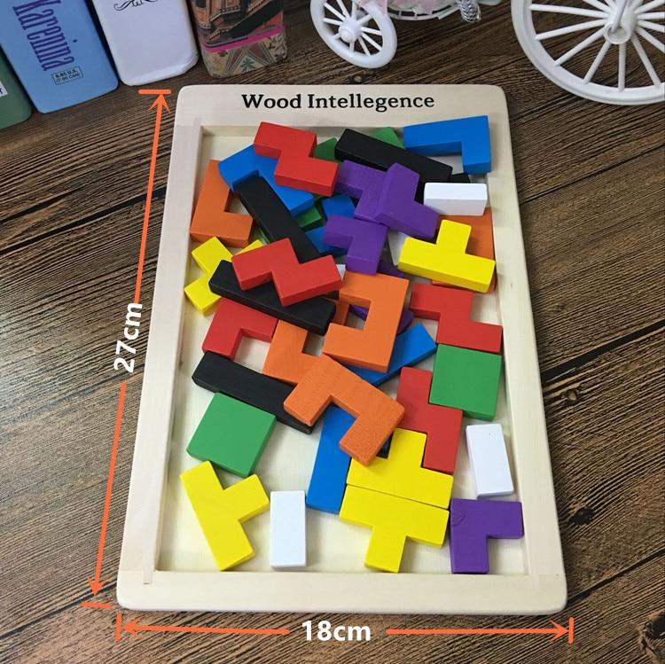 Купить с кэшбэком Baby Educational Toys Tetris Blocks Wooden Toys Family Game Building Blocks Children Wooden Classic Toys Birthday Gift