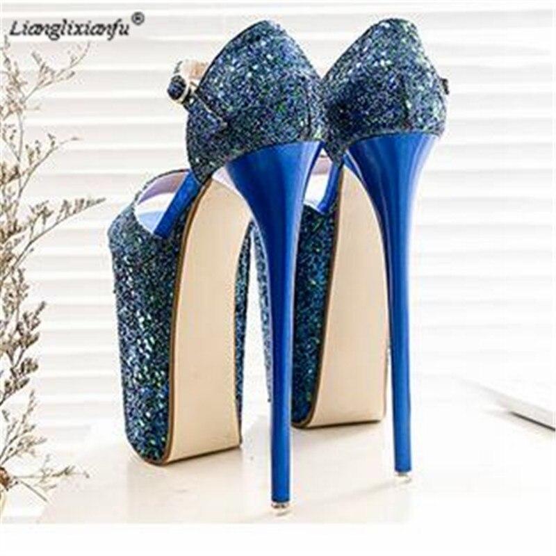 LLXF Crossdresser zapatos mujer Plus:34-43 Summer Buckle Sequins Sandals Stiletto 20cm thin heels platforms shoes Peep Toe pumps