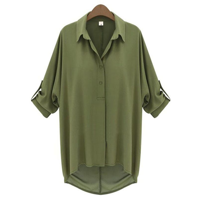 692870611 البلوزات 2018 الأخضر بلوزة للنساء blusas y camisas موهير مثير طويلة الأكمام  الشيفون قميص المرأة زائد حجم الصيف السيدات قمم فام