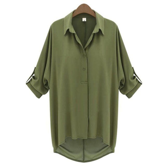 Блузки для малышек 2018 зеленый блузка Для женщин blusas Y Camisas Mujer пикантные с длинным рукавом шифоновая рубашка Женская обувь, Большие размеры летние женские Топы корректирующие Femme