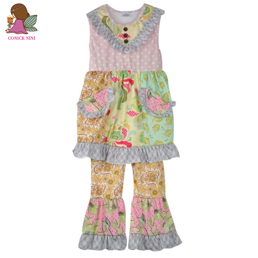 Persnickety 2017 New Arrival Princess Clothing Girl Summer Multi pattern With Button Top Ruffle Pants Cotton