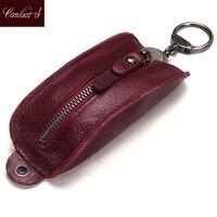 Genuine Leather Car Key Holder Casual Key Wallet Women Housekeeper Keys Organizer Zipper Keychian Cover Case