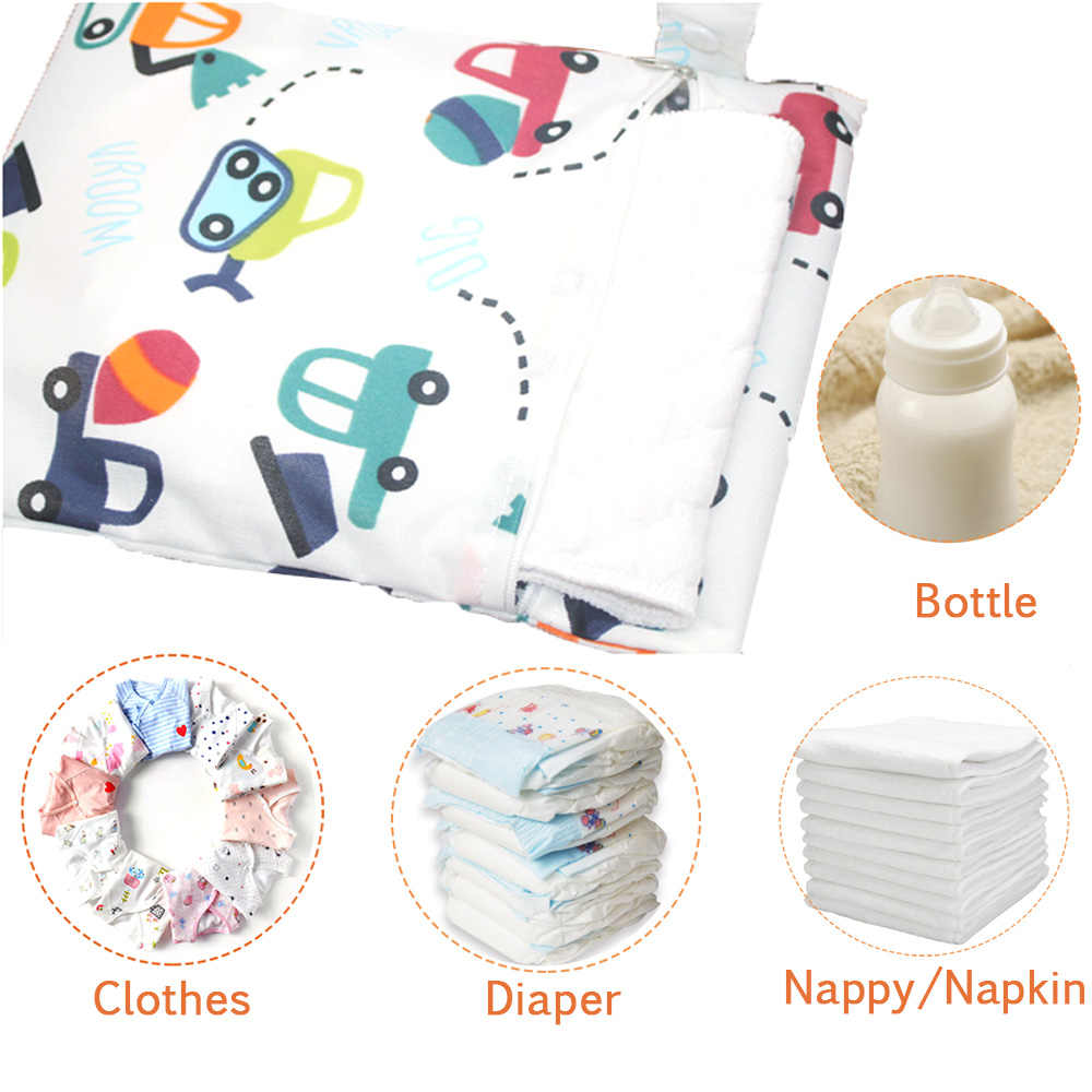 Baby Waterproof Diaper Bags Infant Print Pocket Nappy Bag Wet DryBag Swim Travel Carry Handle Bag Zipper Nappies Storage Bags