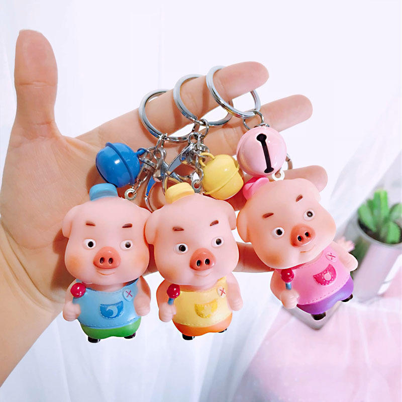 Fashion Cute Cartoon Candy Pig Keychain Animal Bell Key Chain Ring Holder Llavero for Women Girl Bag Pendant in Key Chains from Jewelry Accessories