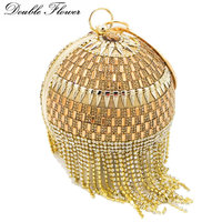 Double Flower Round Women's Fashion Crystal Tassel Evening Bags Wedding Dress Bridal Diamond Wristlets Handbag and Purse
