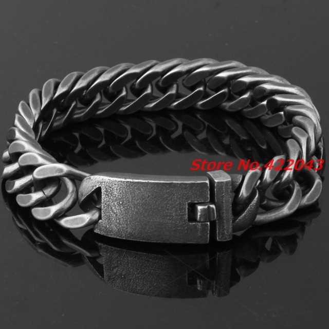 "8.46"" New Brushed Cool 316L Stainless Steel Black Curb Cuban Chain Men's Boys 13mm Vintage Bracelet Bangle Jewelry High Quality"