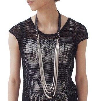 4c3eb3c0f05f UKMOC diseño de alta calidad accesorios de mujer de moda de cuero Chokers  Cadena de serpiente colgantes Casual collares largos joyería de declaración