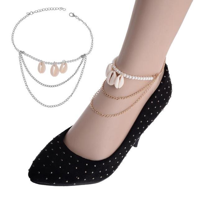 Boho Seashell Ankle Bracelets Foot Jewelry Silver Pearl Beads Shell