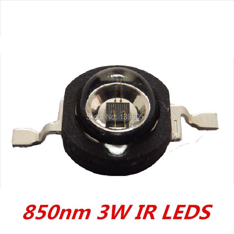 50 Pcs 3W Infrared IR 850nm High Power LED Bead Emitter DC1.8-2.2V CCTV Camera IR Diode for Security Black LEDs