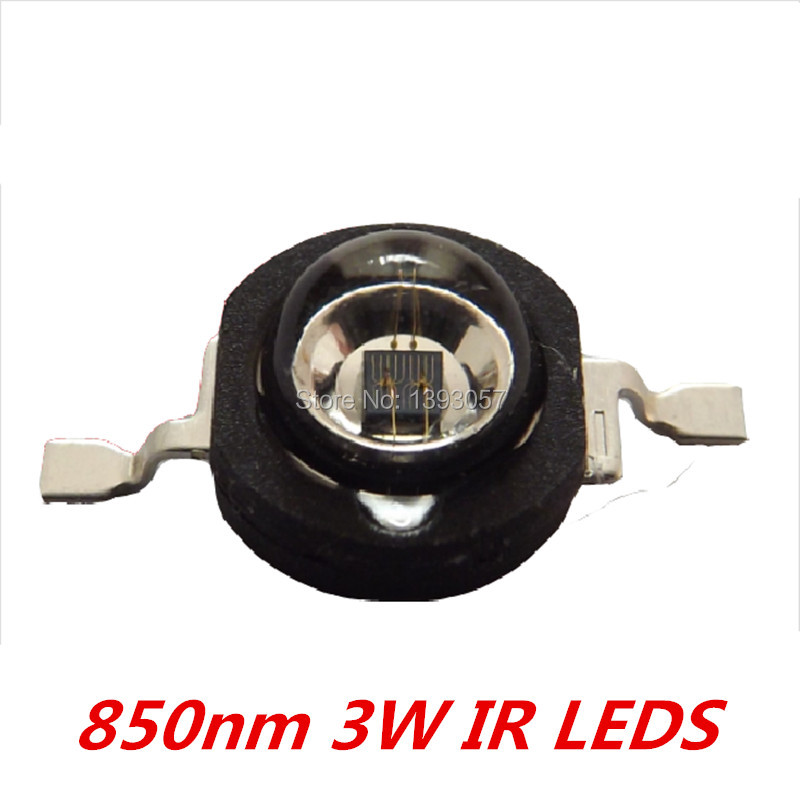 50 Pcs 3W Infrared IR <font><b>850nm</b></font> High Power <font><b>LED</b></font> Bead Emitter DC1.8-2.2V CCTV Camera IR Diode for Security Black <font><b>LEDs</b></font>