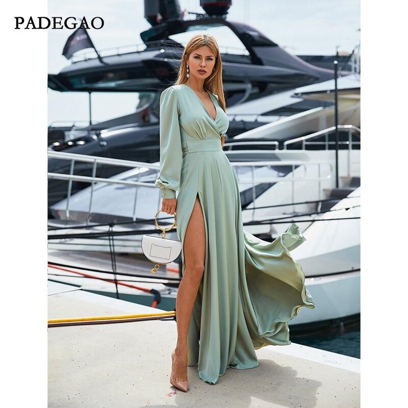 Simple Green A-Line Long   Evening     Dresses   Long Sleeves Side Split   Evening     Dress   Plus Size Custom Made