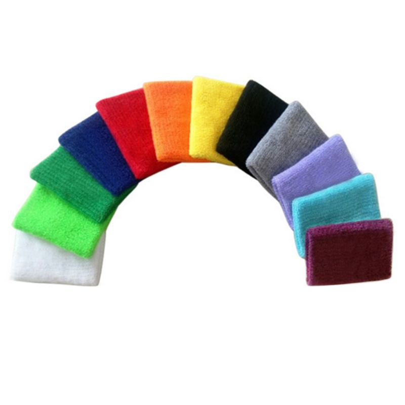 1Pc Bright Colorful Unisex Sports Wristbands Towel Sweatband Wrist Support Brace Wraps Guards For Basketball Running Badminton