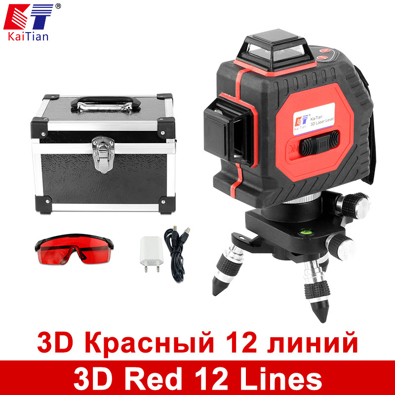 KaiTian 3D Laser Level 650nm 12 Lines Cross Level with Slash Function and Self Leveling Outdoor 360 Rotary Red Laser Beam Tools thyssen parts leveling sensor yg 39g1k door zone switch leveling photoelectric sensors