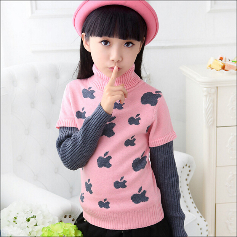 Girls Pattern Sweaters Kids Cotton \u0026 Wool Sweater Children\u0027s Print Apple Sweaters  Girls Turn Pullover Turtleneck