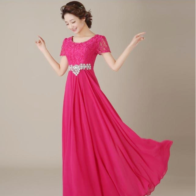 fuchsia formal lace red sleeved bridalmaid dress long hot ...