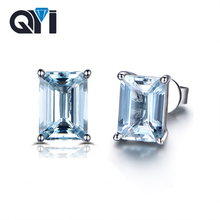 QYI Fashion 925 Sterling Silver Topaz Stud Earrings for Women 2 ct Emerald Cut Sky Blue Topaz Anniversary Gemstone Earrings brilliant light blue topaz earring 8 mm 8 mm natural vvs topaz stud earrings solid 925 sterling silver topaz earrings for party