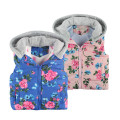 Baby Girls Clothing New Brand 2016 Winter/Autumn Fashion Floral Thick Cotton Warm Outwear Kids Clothes Hooded Girls Vest Jacket