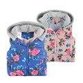 Meninas do bebê Roupa Nova Marca 2016 Inverno/Outono Moda Floral Outwear Roupa Dos Miúdos Meninas Encapuzados Colete de Algodão Grosso Quente jaqueta