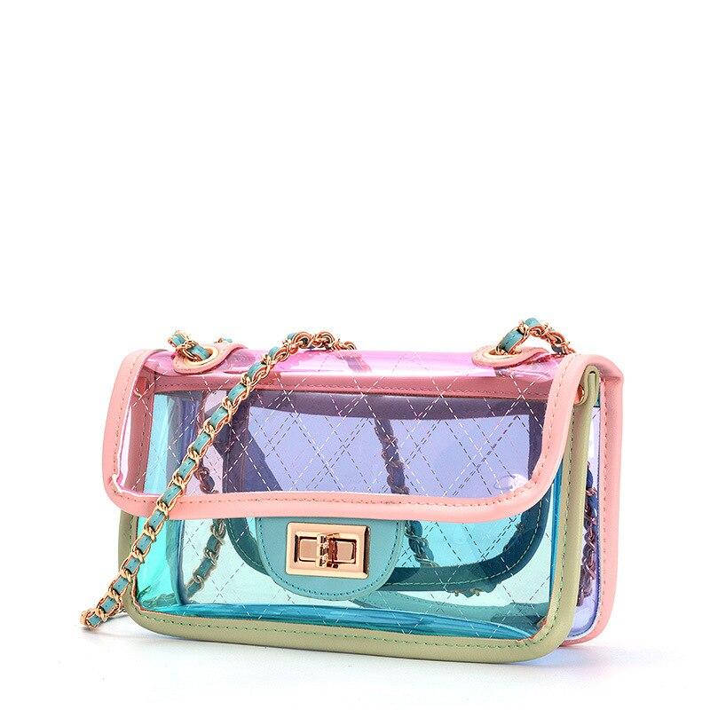Lisse Fashion jelly Women Bag trend ins Hot Sale Lady Handbag PVC Transparent Diamond Lattice Chains shoulder & Crossbody